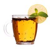 Pusta szklana filiżanka herbata z rękojeścią odizolowywającą na białym tle Obrazy Royalty Free