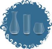 Pusta szklana waza i dwa szkła Zdjęcie Royalty Free