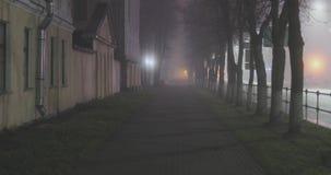 Pusta tajemnicza mgłowa miasto ulica przy nocą zbiory wideo