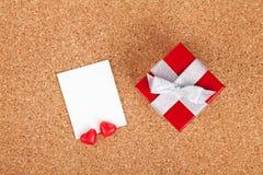 Pusta valentines fotografii rama i prezenta pudełko Obraz Stock