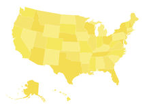 Pusta wektorowa mapa usa w cztery cieniach błękit Zdjęcie Stock