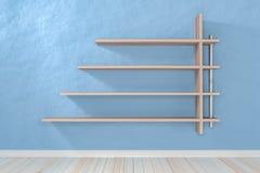 Pusta wewnętrzna bława izbowa biała biała półka i drewniany floo Fotografia Stock