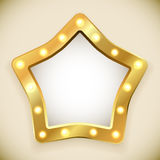 Pusta złota gwiazdy rama Zdjęcie Stock