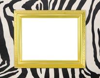 Pusta złota rama z zebry teksturą Zdjęcia Stock