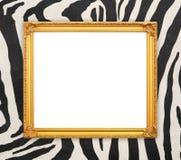 Pusta złota rama z zebry teksturą Zdjęcie Royalty Free