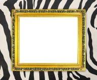 Pusta złota rama z zebry teksturą Obraz Royalty Free