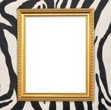 Pusta złota rama z zebry teksturą Fotografia Royalty Free