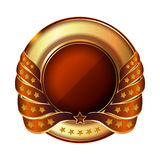 Pusta złota etykietka z faborkiem Obraz Royalty Free