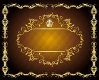 Pusta złoto rama kaligraficzna Obrazy Royalty Free