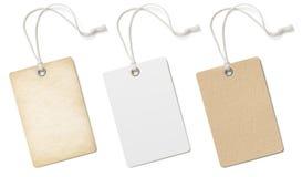Puste kartonowe metki lub przylepiają etykietkę set odizolowywającego Obraz Stock