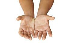 Puste mężczyzna ręki odizolowywać na białym tle Zdjęcie Stock