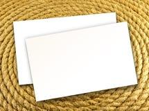 Puste miejsce białe wizytówki na linowym tle, tożsamości desig Fotografia Royalty Free