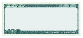 Puste miejsce 100 dolarów banknotu wzór odizolowywający na bielu Zdjęcie Stock