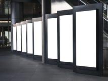 Puste miejsce egzamin próbny w górę Lekkiego pudełka szablonu Vertical znaka stojaka ustalonego pokazu Zdjęcia Stock