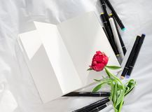 Puste miejsce otwarty dzienniczek na białym łóżku z stosem pióra fotografia royalty free