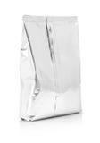 Puste miejsce pakuje aluminiowej folii kieszonkę na białym tle Zdjęcia Stock