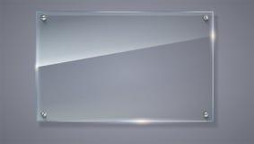 Puste miejsce, przejrzysty wektorowy szklany talerz Wektorowy szablon, horyzontalny sztandar z przestrzenią Fotografii realistycz royalty ilustracja
