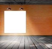 Puste miejsce rama na ściana z cegieł i drewna podłoga Obraz Royalty Free