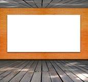 Puste miejsce rama na ściana z cegieł i drewna podłoga Zdjęcia Stock
