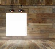 Puste miejsce rama na drewno ścianie z Podsufitową lampą ilustracja wektor