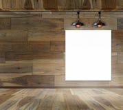 Puste miejsce rama w drewnianym pokoju z podsufitową lampą ilustracji