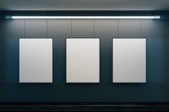 Puste obrazek ramy na popielatej ścianie z rozjarzoną lampą ilustracji