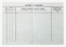 Puste strony litwinu USSR pracownika książka Obrazy Stock