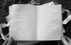 Puste strony otwierali rocznik książkę na stole Obrazy Stock