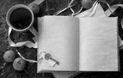 Puste strony otwierali rocznik książkę na stole Zdjęcie Stock
