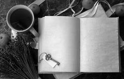 Puste strony otwierali rocznik książkę na stole Obraz Royalty Free