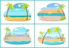 Puste Tropikalne Piaskowate plaże z Wysokimi palmami Ustawiać royalty ilustracja