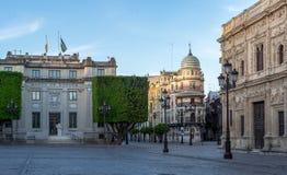 Puste ulicy Seville, Hiszpania zdjęcia stock