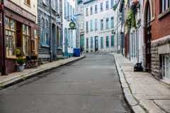 Puste ulicy w Starym Quebec Zdjęcie Stock