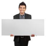 pustego biznesmena przystojny mienia znak obraz stock