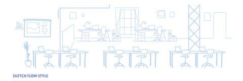 Pustego działania otwartej przestrzeni centrum miejsce pracy kreatywnie środowiska biurowy wewnętrzny nowożytny coworking horyzon ilustracji