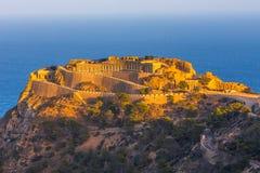 Pustego dziedzictwa miejsca Castillitos niezwykła sławna bateria, antyczny punkt zwrotny na wybrzeżu morze śródziemnomorskie, for obraz royalty free