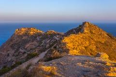 Pustego dziedzictwa miejsca Castillitos niezwykła sławna bateria, antyczny punkt zwrotny na wybrzeżu morze śródziemnomorskie, for obrazy stock