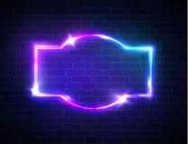 Pustego miejsca 3d retro rama z błyszczeć neonowych światła Obrazy Royalty Free