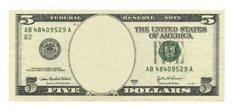 Pustego miejsca 5 dolarowy rachunek Fotografia Royalty Free