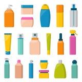 Pustego pakunku zbiornika atrapy butelki inkasowego szablonu płaska wektorowa ilustracja Zdjęcia Stock