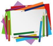 Pustego papieru i koloru ołówki w tle ilustracja wektor