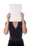 pustego papieru prześcieradła kobieta Fotografia Stock