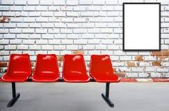 Pustego reklamowego billboardu lub szerokiego ekranu telewizja ch i czerwień Zdjęcia Stock