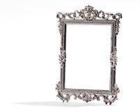 Pustego rocznika srebra dekoracyjna rama na bielu, Obraz Stock