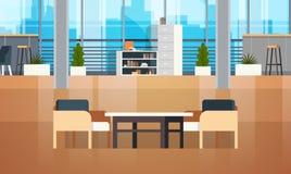Pustej Coworking przestrzeni Coworking miejsca pracy Wewnętrzna Nowożytna Biurowa Kreatywnie przestrzeń ilustracji