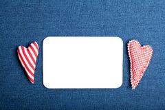 pustej karty cajgi biały zdjęcia royalty free