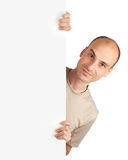 pustej karty szczęśliwy męski trwanie biel Zdjęcia Royalty Free