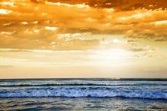 Pustkowie plaża przy zmierzchem, Południowa Afryka Obraz Stock