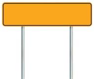 Pusty Żółty Drogowy znak, Odosobniona Wielka ostrzeżenie kopii przestrzeń, Czarna Obraz Stock