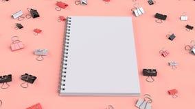 Pusty ślimakowaty notatnik z czarnymi, białymi i czerwonymi segregator klamerkami dalej, ilustracji